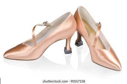 Beautiful shoes for ballroom dancing isolated on white background