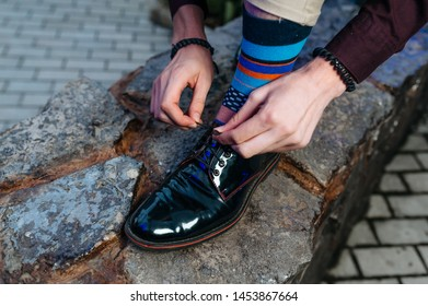 Beautiful shoes with colored socks