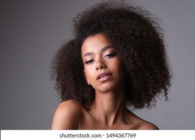 Beautiful shoot of sensual afro-amercian face.