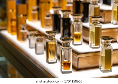 Beautiful shop in shopping malls. The large perfumery shop of elite perfumery and cosmetics is washed out. Rack with shelves in a large drogeria.