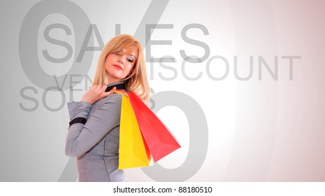 Beautiful shopping girl hold bag in her hand