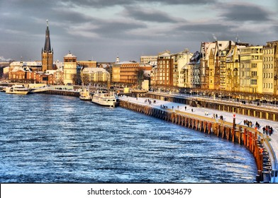 Beautiful shore of Rhine river during day in Dusseldorf in winter, Nordrhein-Westfalen, Germany