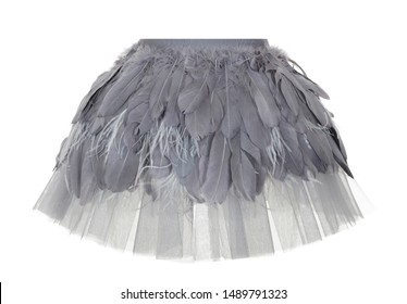 Beautiful short puffy gray peplum skirt with feathers and chiffon, ghost mannequin isolated on a white background