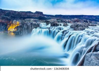Beautiful Shoshone Falls in blue hour. Snake river, Twin Falls, Idaho