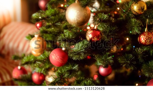 Beautiful Shot Decorated Christmas Tree Woth Stock Image