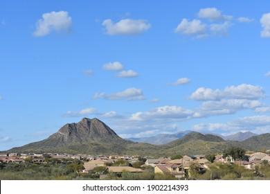 A beautiful shot of the Gavilan Peak mountain view north of Phoenix in New River, Arizona