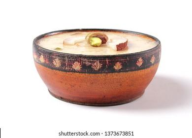 Beautiful shot of Kheer, Traditional indian sweet dish, Pakistani dessert, Ramadan iftar meal, Ramzan dinner, Eid milan party, Diwali lunch, Closeup of christmas treat. - Image