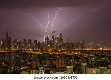 beautiful shot of lightning at city scraper