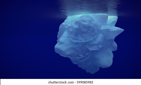 Beautiful shot of sea ice from under the surface of the ocean out in the deep blue sea with beautiful lighting beaming down through the iceberg & reflecting under the surface with infinite background.