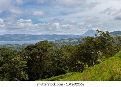 beautiful shot of the volcano and lake form a viewpoint in Tilaran, Costa Rica