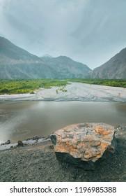 Beautiful shyok river passing through the valley.   Skardu, Pakistan