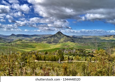 Beautiful Sicilian Landscape with Monte Formaggio in the Foreground, Mazzarino, Caltanissetta, Italy, Europe