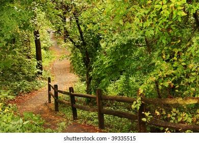 a beautiful sidewalk or walking path in a green area