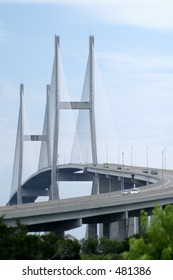 The beautiful Sidney Lanier Bridge, a cable stay bridge, in Brunswick, Georgia. Longest bridge in Georgia.