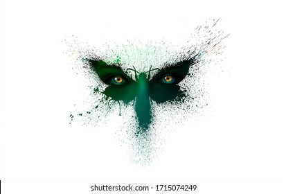 Beautiful silhouette of a butterfly in dark green colors with multi-colored human eyes on the wings of a butterfly with paint splashes, splatters and blots isolated on a white background.