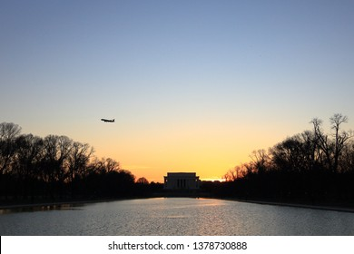 beautiful silhouette of the Lincoln Memorial in Washington DC,USA.