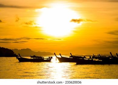 Beautiful silhouette sunrise sky at Koh Lipe island, Thailand.