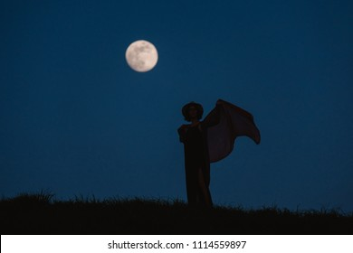 Beautiful silhouette of a young woman against a background of the night sky with a full moon