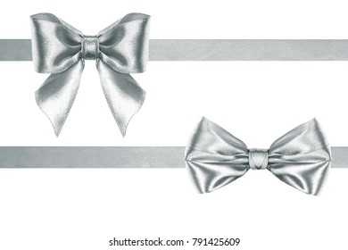 Beautiful silk silver two ribbons and bows on a white background