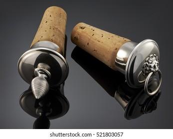 beautiful silver bottle cork on black background.
