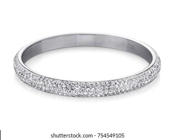 Beautiful Silver Bracelete with diamonds, on white background