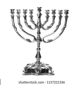 Beautiful silver hanukkah menorah on white background