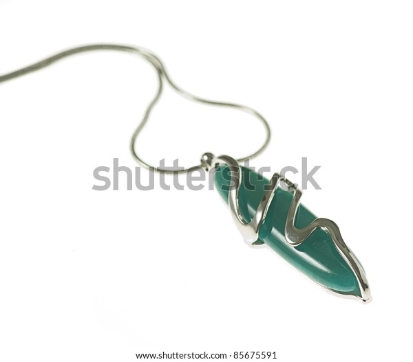 beautiful silver necklace isolated on a white background