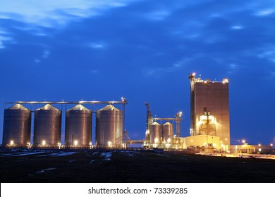 beautiful silver silos in landscape