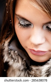 Beautiful silvery and glittery party makeup