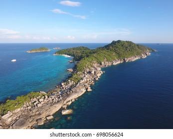 Beautiful Similan Island Number 4 Aerial View. Andaman Sea, Thailand.