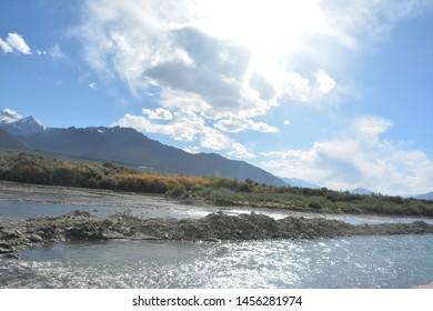 beautiful sindhu river at leh-ladakh.