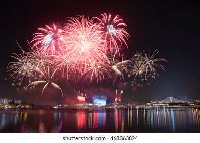 Beautiful Singapore national day fireworks at national stadium.