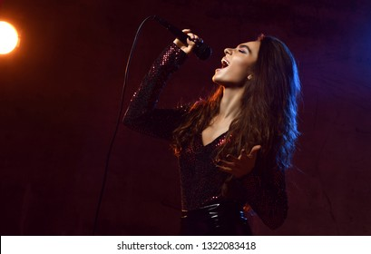 Beautiful singing girl curly afro hair. Beauty woman singer sing with microphone karaoke song on stage. Dark background, smoke, spotlights