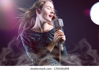 Beautiful singing girl with microphone in karaoke