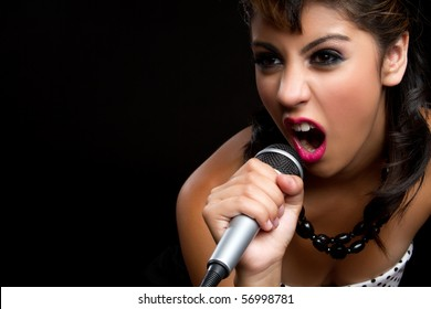 Beautiful singing rockstar girl