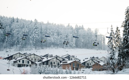 beautiful ski resort Bukovel, mountain theme and sports, ski track 2A