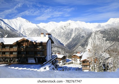 Beautiful ski resort, chalet in the mountains