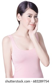 Beautiful skin care asian woman on white background with clipping path