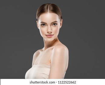 Beautiful skin care healthy natural makeup woman with shine skin beauty portrait female