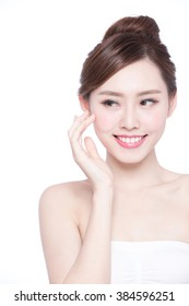 Beautiful Skin care woman Face and she look copy space isolated on white background. asian Beauty