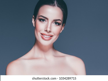 Beautiful skin care woman portrait. Beauty female young brunette girl portrait.