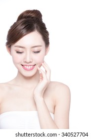 Beautiful Skin care woman relax and touch her skin face isolated on white background. asian Beauty