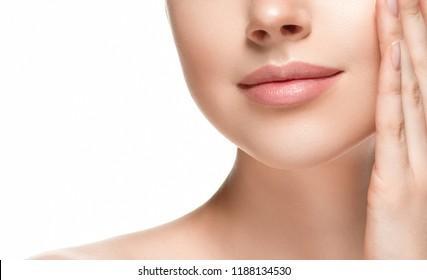 Beautiful skin face closeup woman isolated on white