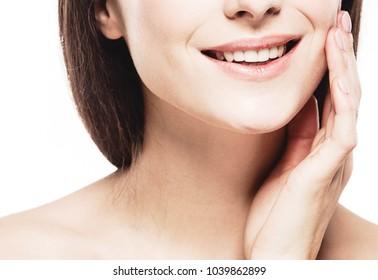 Beautiful skin face woman brunette hair natural makeup plastic surgery