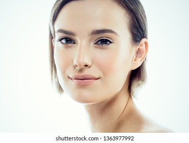 Beautiful skin hair woman healthy face hair beauty concept