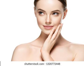 Beautiful skin healthy and clean natural makeup woman face closeup