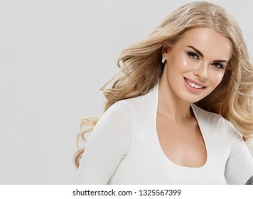 Beautiful skin woman blonde hair beauty eyes lashes and pink lips female model