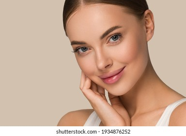 Schöne Hautfrau Gesicht gesunden Schönheitsbehandlungen Hautpflegeweibmodell