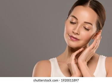 Beautiful skin woman face natural clean skin female beauty