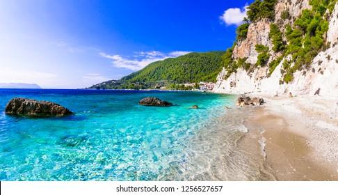 beautiful Skopelos island - picturesque  Hovolos beach. Sporades, Greece